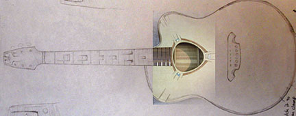 This is a plan for Guitar 7 with a peek at the compleated soundhole inlay